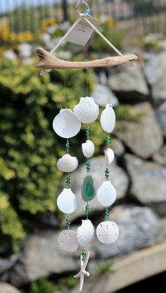 Driftwood Seashell Wind Chimes, Handcrafted Wind Chimes, Wind Chimes, Seaside Lovers Reward, Seaside Home Seashell Mobile, Seashell Art, Seashell Crafts, Beach Crafts, Seashell Wind Chimes, Make Wind Chimes, Hat Crafts, Diy And Crafts, Arts And Crafts
