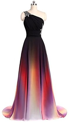 ANGELA One Shoulder Ombre Long Evening Prom Dresses Chiffon Wedding Party Gowns As Picture 2 at Amazon Women's Clothing store: