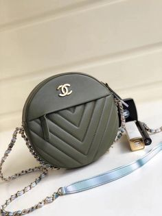 Chanel Chevron Leather Round Evening Shoulder Bag Army Green 2018   Chanelhandbags ab72d9a66d