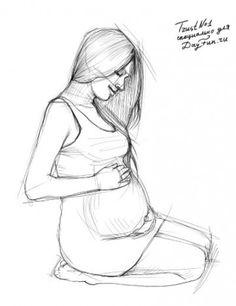 Как нарисовать беременную девушку карандашом поэтапно 3