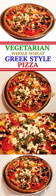 vegetarian greek style pizza feta cheese whole wheat black olives cherry tomatoes mozzarella cheese red green peppers oregano easy diet low fat mediterranean
