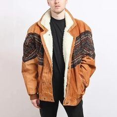 Men's Vintage Double-breasted Printed Color Splicing Plush Jacket – okrobe Mens Fur, Collar Designs, Sharp Dressed Man, Print Jacket, Jackets Online, Jacket Style, Business Fashion, Clothing Items, Fashion Prints