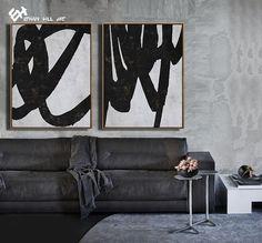 Large Set of 2 Abstract Art Minimalist Painting Canvas Art image 3