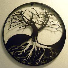 Arte de pared de Metal Yin-Yang árbol de la vida por VanMetalArts