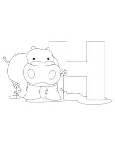 Letter H Coloring Page is part of Alphabet coloring pages - Space Coloring Pages, Alphabet Coloring Pages, Printable Coloring Pages, Coloring Books, Letter H Activities For Preschool, Fun Activities For Kids, Hippo Crafts, Hippo Drawing, Patch Aplique