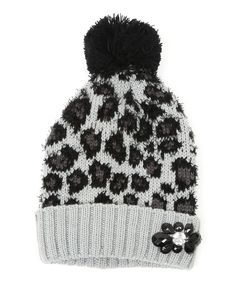 This Gray Leopard Pretty Kitty Pom-Pom Beanie by Betsey Johnson is perfect! #zulilyfinds