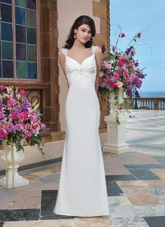 Sincerity wedding dress style 3829 Jersey, beaded corded lace straight dress accentuated by a sweetheart neckline