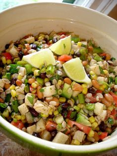 This southwest bean and barley salad is the perfect vegetarian main dish. Loaded with barley, black beans, jicama, tomatoes and a killer dressing Best Salad Recipes, Avocado Recipes, Veggie Recipes, Healthy Dinner Recipes, Cooking Recipes, Veggie Food, Healthy Meals, Yummy Recipes, Vegetarian Main Dishes