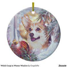 Welsh Corgi in Winter Window Ceramic Ornament