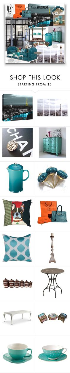 """Paris"" by marionmeyer ❤ liked on Polyvore featuring interior, interiors, interior design, home, home decor, interior decorating, ArtWall, Art Addiction, Wilton and Le Creuset"