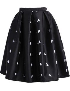 Black Frog Print Flare Skirt