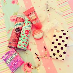 Dry shampoo, Nerds, lash curler, earrings, girly things make me happy!