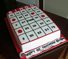 This cake was for a birthday/retirement party. It was huge and heavy - cake 60th Birthday Cakes, 90th Birthday Parties, Birthday Cakes For Women, Birthday Cake Girls, Bingo Cake, Bingo Party, Cupcakes, Cupcake Cakes, Bingo Patterns