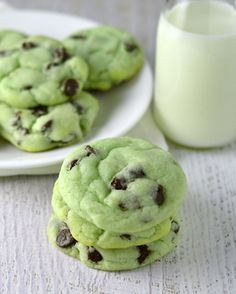 Mint chocolate chip cookies. Super soft, fluffy and just the right hint of mint!