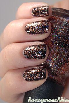 China Glaze - Glitter Goblin over black! Love the confetti feel to this