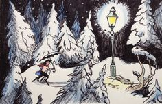 Mr Tumnus, Lucy and the lamppost in Narnia