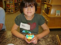 Day 1 at Camp. Ages 6-8. Read Mostly Monsterly, Kids Designed Their Own Monster Cupcake because in Mostly Monsterly Bernadette loves making cupcakes.