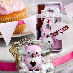 Cute Little Pink Owl Key Chain Favors
