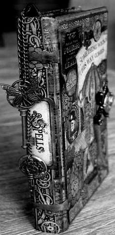diy book of spells spell book for Halloween using steam punk scrapbooking trinkets Altered Books, Altered Art, Wiccan, Witchcraft, Magick Spells, Graphic 45, Handmade Books, Little Books, Book Of Shadows