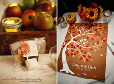 S'mores wedding favor in a cute package with custom label. Wedding guest sign-in tree, Fall Colors. NH Wedding.