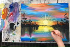 Colorful rainbow landscape sunset acrylic painting video, step by step, tutorial, timelapse art#acrylic #art #colorful #landscape #painting #rainbow #step #sunset #timelapse #tutorial #video