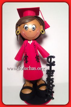 Celebrate your graduate's special day with these Custom Graduate Fofucha Dolls. Can make a lovely and unique gift, decor, centerpiece or even a keepsake gift.Foam doll are handmade from foamy material and hand painted, Doll comes with base included. Measures approx. 11-12″ height  I hand customize my orders, So you can specify some Physical Features such as:  * Hair Color*Eyes Color* Curly or Straight*Skin color  *Gown color  Any questions feel free to message  #graduation #fofuchas…