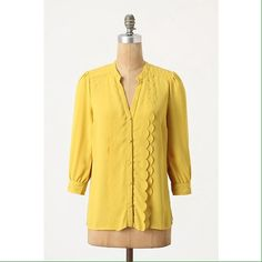 """Anthro scalloped buttondown EUC did not fit me runs a little big. Adorable scallop details. 5 star reviews. Ruffled rows stem from the placket of Meadow Rue's silky shirt.   Button front  Polyester  Dry clean   25""""L  Imported  Style No. 23127228 Anthropologie Tops"""