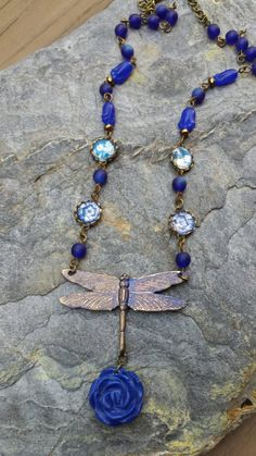 Blue Dragonfly Necklace by offyourrockerjewelry on Etsy