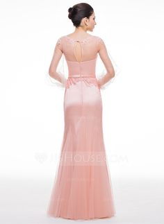 Trumpet/Mermaid Scoop Neck Floor-Length Tulle Evening Dress With Beading Appliques Lace Sequins (017056514)