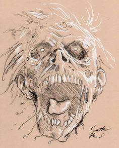 Zombie's head looks mad/crazy. It gives the audience a shock/jump-scary. Zombie Head, Zombie Face, Zombie Zombie, Dead Zombie, Zombie Drawings, Scary Drawings, Goblin Art, Drawing Sketches, Pencil Drawings
