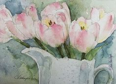 Image result for paintings of tulips in a vase