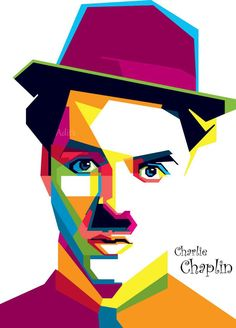 Chaplin WPAP by adityasp on DeviantArt Colorful Art, Pop Art Portraits, Art Painting, Art Drawings, Wpap Art, Polygon Art, Portrait Art, Pop Art, Vector Art