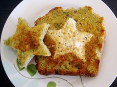 "Egg in a star-shaped hat, made with homemade ""cheddar"" dill bread (http://www.savorysimple.net/cheddar-dill-beer-bread/) - prepared with dairy-free Daiya cheddar style shreds, hard cider, and scallions"