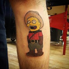 "@alexlapdance ""Ooooohhhh Cannnnadaaaa"" --------------------------------------- #thesimpsonstattoo #thesimpsons #simpsonstattoo #simpsons #tattoo #moe #inked #tat #tattyslip #simpsonsfan #homer #bart #lisa #maggie #marge #mattgroening #futurama #cartoontattoo #cartoontats #epictattoo #simpsonstat"