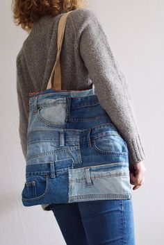 SUMMER SALE! DENIM tote bag with medium length shoulder straps // lining + outside pocket // recycled denim - upcycled bag // for him - for