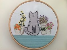 Embroidered textile cat picture £17.00