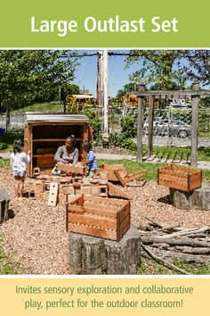Transform your outdoor space with our largest set of Outlast Blocks, 3 Crates, and a sturdy Wheelbarrow all packed in a waterproof, wooden storage shed. Outlast Blocks are a natural part of the outdoor classroom and a perfect way to engage children in constructive play. Tap through to see the details.