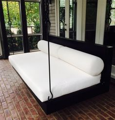 Considering a more modern porch swing bed for the walk-out basement patio area near the pool Outdoor Hanging Bed, Hanging Beds, Hanging Chairs, Swing Design, Bed Design, House Design, Porch Bed, Porch Swings, Patio Swing