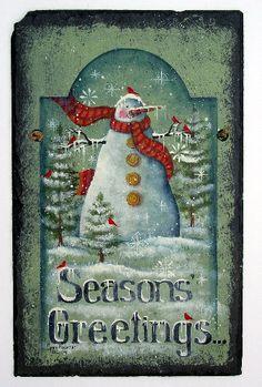 Lynne Andrews Seasons Greetings Snowman Slate Pattern Packet