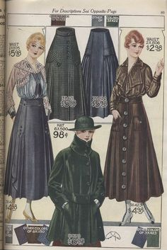 Smithsonian Institution Libraries Detail of Women's skirts, blouses, and coats Image From: Bellas Hess & Co. Fall and Winter Catalogue No. Motif Vintage, Vintage Patterns, Jazz Age, Belle Epoque, Vogue Paris, Casual Chic, Fisher, Vintage Dresses, Vintage Outfits
