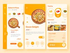 Online Food Delivery App UI Deisgn by Felicia Cheung on Dribbble Design Android, App Ui Design, Interface Design, Flat Design, User Interface, Web Design Mobile, App Design Inspiration, Wireframe, Interaction Design
