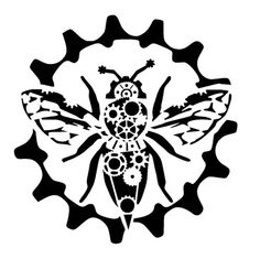 steampunk cogs bumble bee stencil