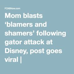 Mom blasts 'blamers and shamers' following gator attack at Disney, post goes viral   FOX6Now.com