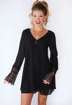 Swept Away Dress - Black this would be such a cute game day dress #TTU
