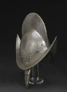 An etched comb morion late 16th century #helmet #armour