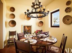 Tour Ted Turner's Hacienda-Style Home in New Mexico - Architectural Digest Informal Dining Rooms, Dining Room Sets, Dining Room Design, Dining Area, Kitchen Dining, Dining Chairs, Spanish Colonial Homes, Spanish Style Homes, Spanish Revival