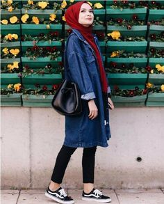 Denim chemise-Hijab outfits collection for winter – Just Trendy Girls