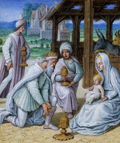 Jean Poyer: The Adoration of the Magi (Tours Hours of Anne of Brittany and Mary of England, detail,1498, Lyon Municipal Library)