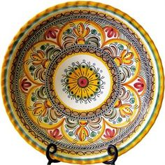 Hand painted plate from Spain - The plate is signed on the back by the artist from Puente del Arzobispo (Toledo), Spain. (Another purchase for my wall!!)