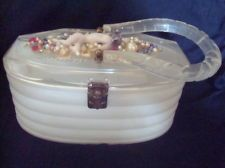 Lovely Vintage1940's Frosted White Pearlized LUCITE Handbag Purse Nude Lady